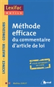 METHODE EFFICACE DU COMMENTAIRE D'ARTICLE DE LOI
